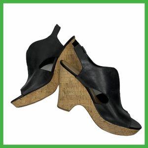 Franco Sarto Peep Toe Black Wedge Sandal Sz 9M